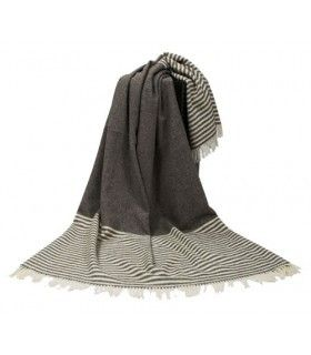 Extra large throws pure new Scandinavian wool 220 x 260 cm grey and white stripes