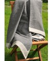 Throws grey anthracite in pure Virgin wool with angle linen 180 x 220 cm