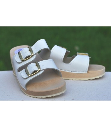 Wood sandals orthotics in leather double buckle
