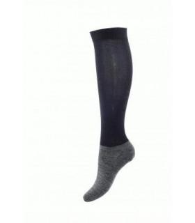 Chaussettes d'équitation pied laine et jambe fine