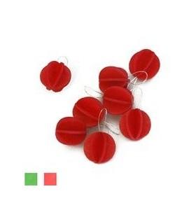 Décoration mini boules rouges et carte postale bois de bouleau LOVI