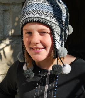 Bonnet Nordique en laine à jacquards gris