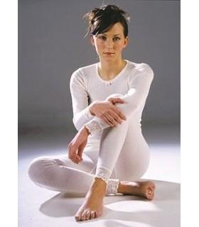Shirt long sleeves woman black or off-white Merino Wool
