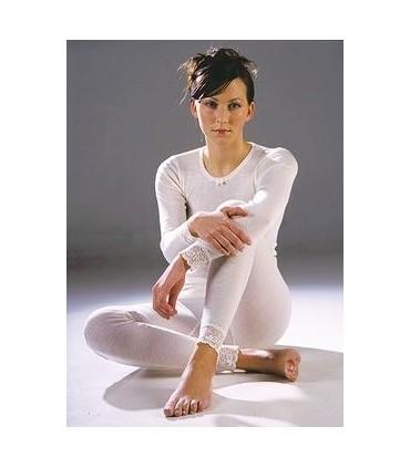 Shirt Frau schwarz oder cremefarbener Merinowolle lange Ärmel