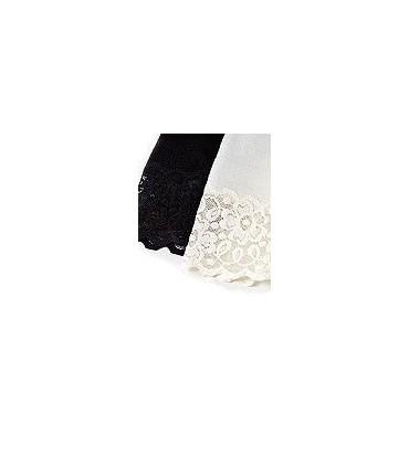 Woman black, off-white Merino Wool leggings, lace