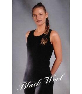 Débardeur chaud femmes noir laine mérinos