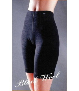 Short long femme noir pure laine mérinos