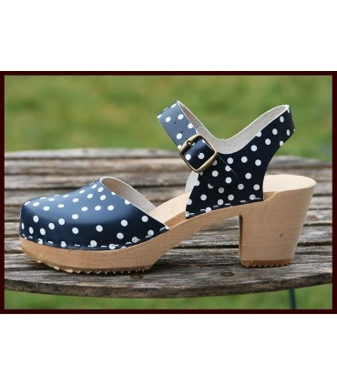 Women wooden high heel shoes with flanges and leather polka dots