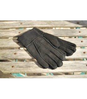 Schwarz Lamm Haut Handschuhe zurückgegeben