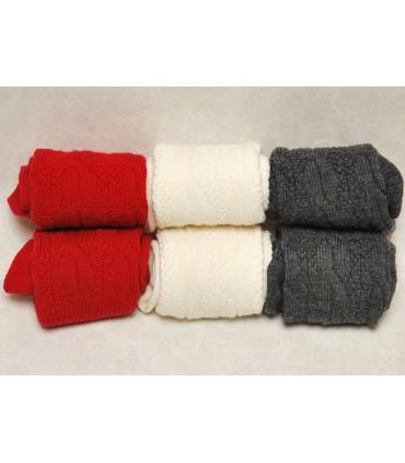 Chaussettes hautes laine torsades suédoises femme et enfant