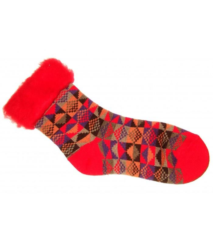 Chaussettes cocoon fantaisie laine rouge