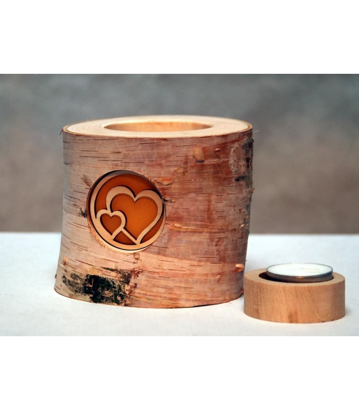 Bougies photophores bois de bouleau
