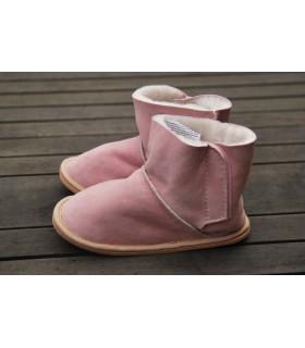 Chaussons boots enfants peau mouton retournée rose