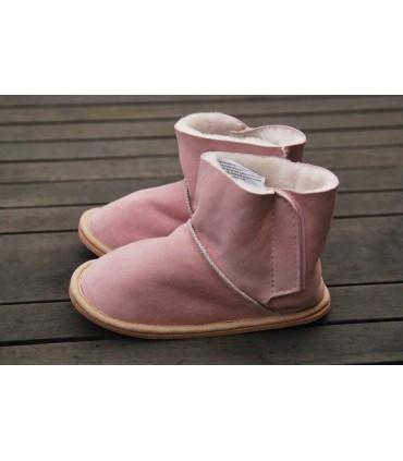 Chaussons bottes bébé enfant peau d'agneau moka ou rose
