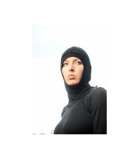 Lana de capucha y seda negra bien caliente