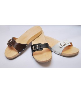 Men's and women's wooden sandals in wood and leather