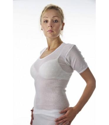 Tee shirt femme 100% coton blanc sans coutures