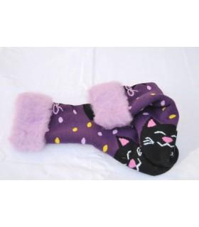 chaussettes fantaisie chat violet