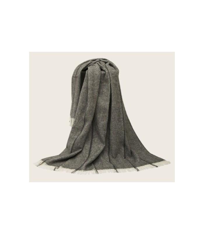 Plaid pure laine scandinave gris à rayures