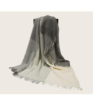 Plaid de carrés gris et écru pure laine scandinave 140x240 cm