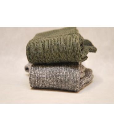 Chaussettes en laine kaki gris non comprimantes