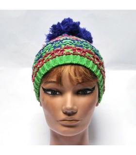 Bonnet laine pompon violet ou fushia