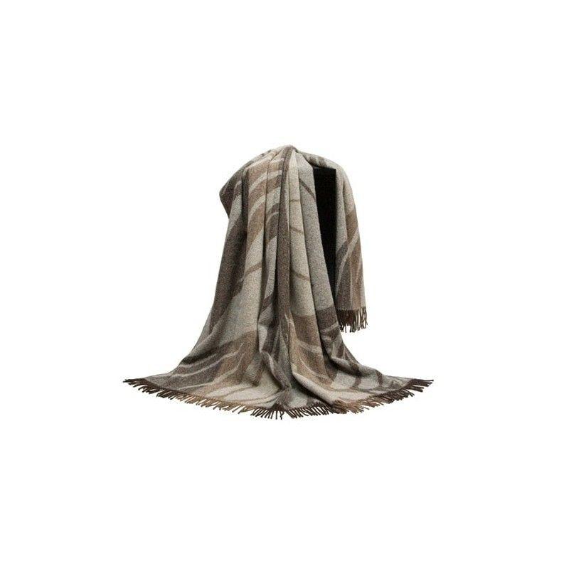 plaid pure laine vierge et alpaga brun et beige 140x240 cm. Black Bedroom Furniture Sets. Home Design Ideas