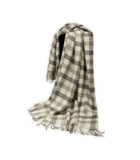 Plaid en pure laine vierge scandinave carreaux gris ecru