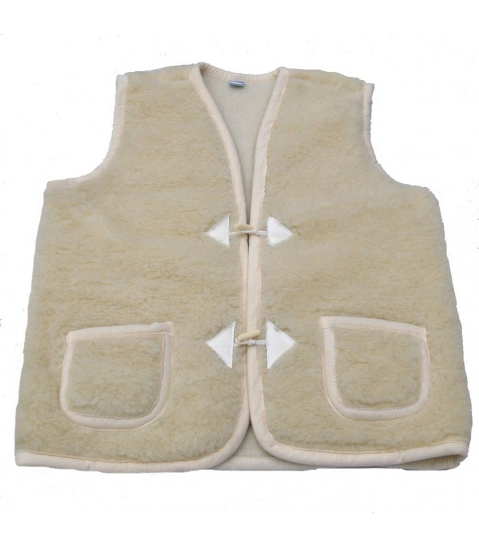 Waistcoat sleeveless pure wool with Brandenburg