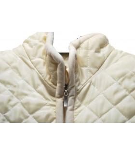 Gilet damassé blanc pure laine col montant 2 XL