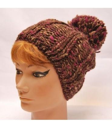 Bonnet laine chinée coloré gros pompon