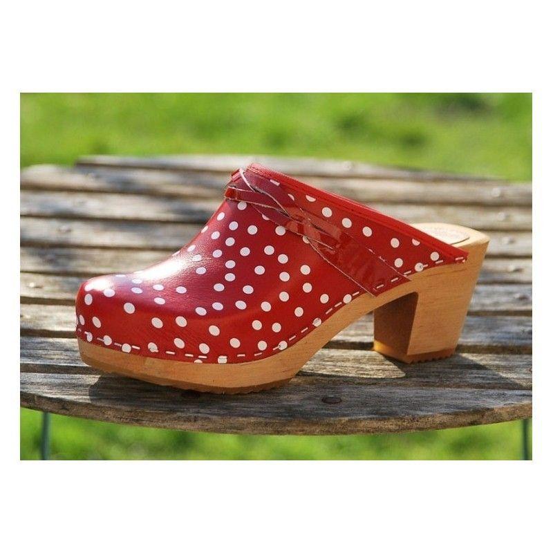 Zuecos de Suecia madera mujer zapatos cuero negro y rojo o como 372e59e2fa4