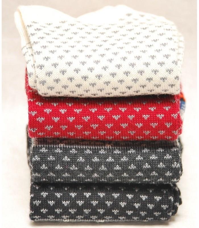 Chaussettes fines jacquard 90% laine mérinos femme