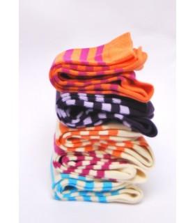 Chaussettes femme couleur et rayures en coton de luxe