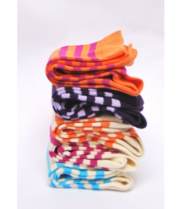 Women Socks colored stripes in Egyptian cotton
