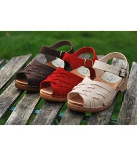 Sandales bois suédoises en cuir tressés femme