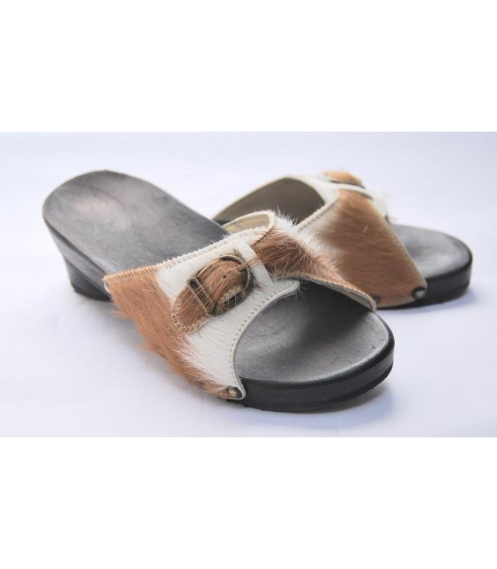 Woman wooden sandals in bicolor wild leather