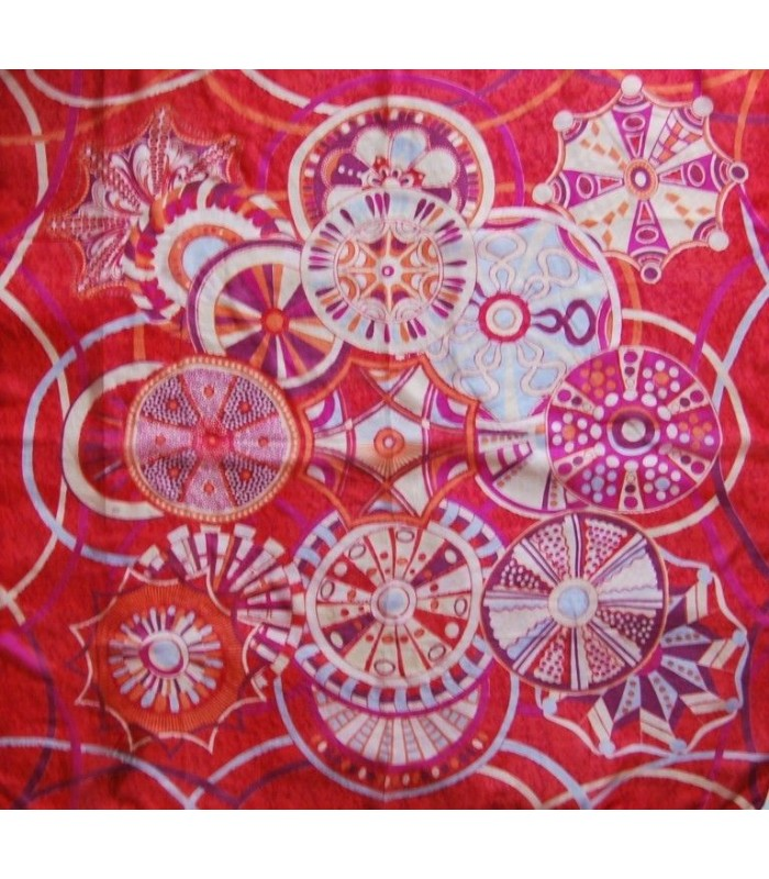 Large colorful silk flower dots square scarf