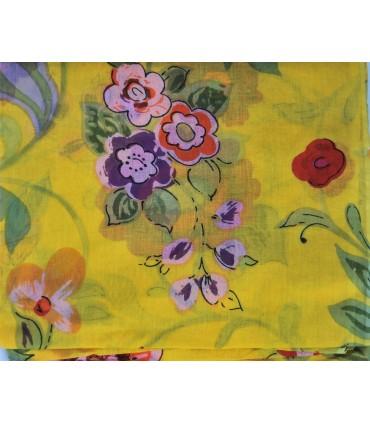 Grand foulard jaune à fleurs en coton