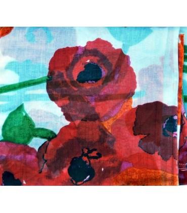 Grande écharpe à fleurs de pavot rouges en pur coton