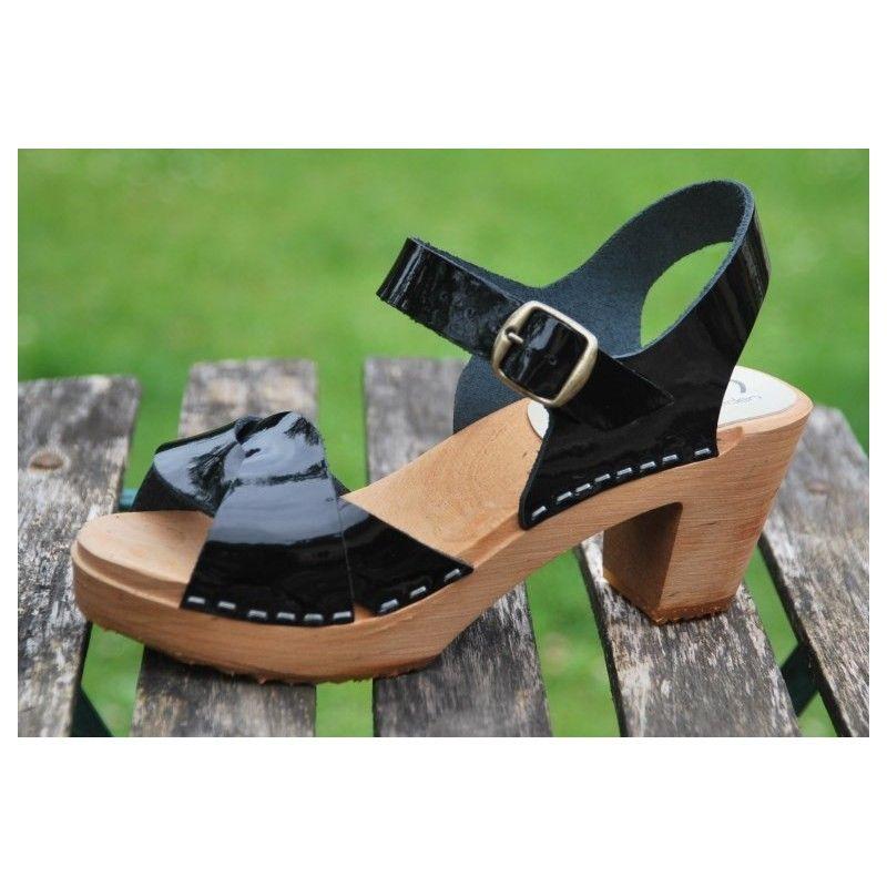 296a52b14ad Suecos sandalias cuero y tacón mujer madera. Loading zoom