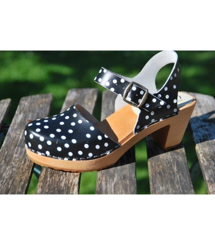 Women Wood and black leather polka dot high heel natural wooden shoes