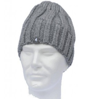 Man wool cap twist stitches grey