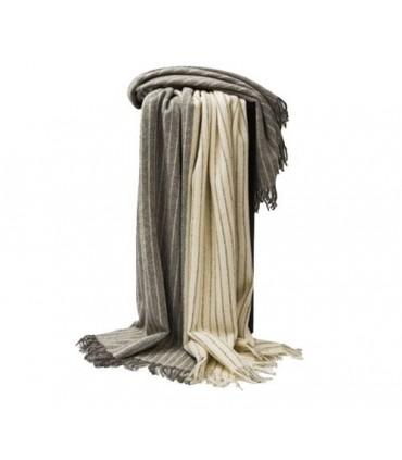 Plaid en pure laine vierge scandinave ecru gris carré