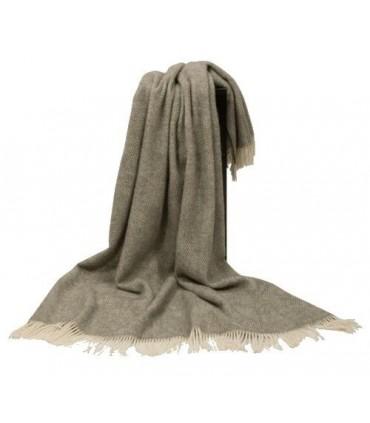 Plaid gris et ecru chevrons en pure laine vierge scandinave