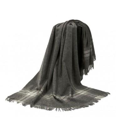 Plaid gris couture en pure laine vierge scandinave