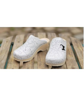 My white Landes clogs