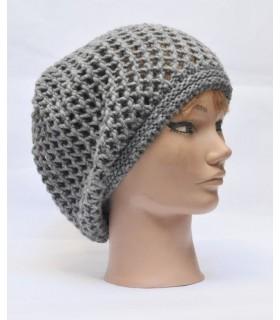 Bonnet en laine femme maille filet gris