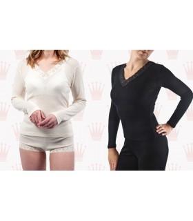 Camiseta mujer negro o grisáceo Lana y seda manga larga