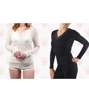 women's Shirt black or off-white Wool and Silk long sleeves